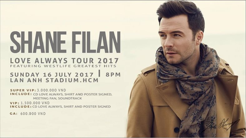 "Shane Filan to bring ""Love Always"" Tour 2017 to Ho Chi Minh City"